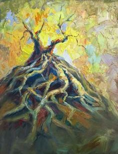 "Niki Gulley » live oak tree painting. ""Deep Roots"" New Textured Oil Painting by Texas Artist Niki Gulley"