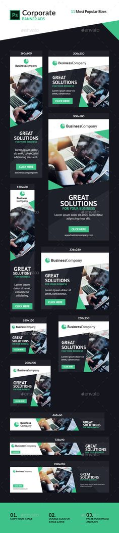 Corporate Ad Banners #2 #generic #adroll Download : https://graphicriver.net/item/corporate-ad-banners-2/21406780?ref=pxcr