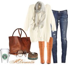 White shirt, gray scarf, jeans, riding boots, leather handbag, bracelet, and sunglasses