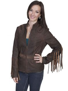 Scully Leatherwear Womens Brown Fringe Whip Stitch Ranch Jacket