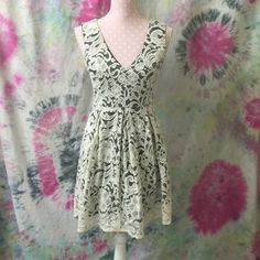 "HPWhite lace high low dress Various color stains. See detail photo. High low. dress form/mannequin details:bust 34"" waist 26"" length 23"" Monteau Dresses High Low"