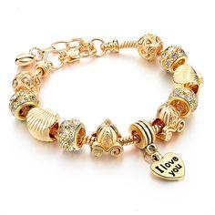 Luxury Jewelry European Heart Charm Bracelet Gold DIY Beads Women Bracelets Bangles Pulsera SBR150082 * Click image for more details.