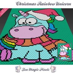Christmas Rainbow Unicorn crochet blanket pattern; c2c, cross stitch; graph; pdf download; no written counts or row-by-row instructions by TwoMagicPixels, $3.99 USD