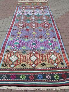 """Anatolia Turkish Sardes Nomads Kilim 43 7"""" x 114 9"""" Area Rug Kelim Carpet #luvocracy #design"""