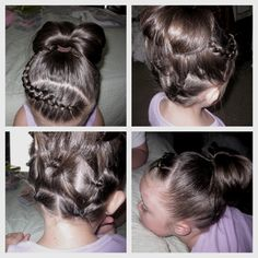 Side inverted French braid on top into ponytail, 2 pull thru's into 3 pull thru's on the bottom, all pulled into the pony in the middle turned into a messy bun