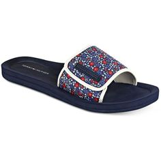 Tommy Hilfiger Mysha Pool Slide Sandals ($20) ❤ liked on Polyvore featuring shoes, sandals, blue floral, cutout sandals, tommy hilfiger, slide sandals, floral print sandals and floral-print shoes