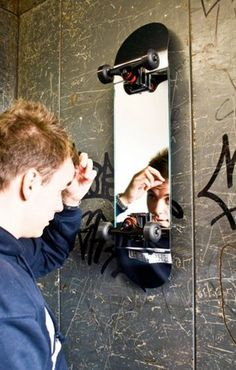 Recycled Skateboard Mirror
