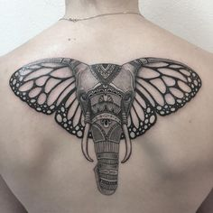 Elephant tattoo with butterfly ears
