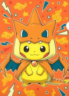 pikachu con disfraz de mega charizard