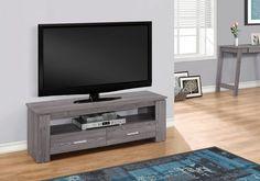 Console télé Monarch Specialties en gris - image 2 de 3