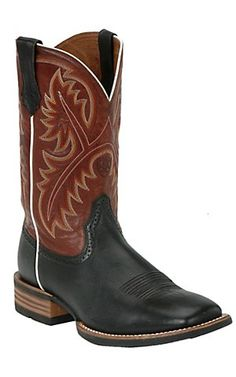 Ariat Quickdraw Men's Black Deertan with Washed Adobe Wide Square Toe  Western Boots