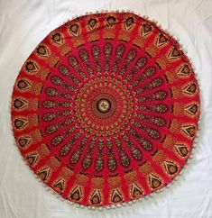 Red Round Tapestry Hippie Bohemian Floor Pillows Round Bean Bag Cover Living Room Home Decor Purple Ottoman Pouf Cover