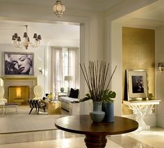 Gold leaf feature wall in entry