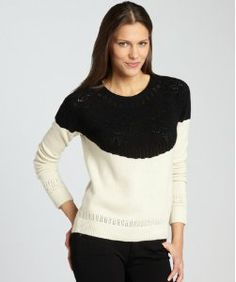 Magaschoni ivory cashmere crewneck sweater | sweaters | Pinterest ...
