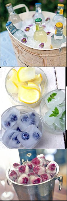 Flavoured ice cubes to add a tinge of fruity taste to one's water or beverages
