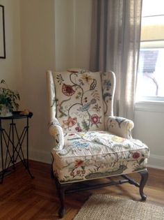 vintage embroidered wingback armchair