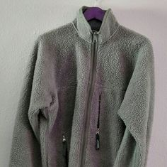 Patagonia VINTAGE Full Zip Fleece*Unisex M/Wmn L Well worn vintage baggy zip up high pyle fleece. Sage green. Labeled unisex M, I wore it as a women's large, could be comfortably worn as XL.   *Firebrand hole on sleeve (see photos)  I am currently a small, but kept this as a baggy fleece until I finally found this in a unisex small. Now that I have its replacement, I am selling this one.  I have new fleeces for sale as well, but have an appreciation for classic Patagonia. Patagonia Jackets…