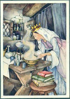 vintage Snow White queen illustration