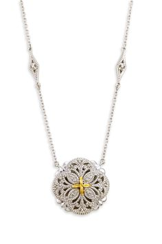 Sterling Silver Necklace with Diamond and 18K Gold Accents | Cirque Jewels