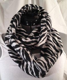 Vintage Zebra Cotton Knit Infinity Scarf by MattieSews on Etsy, $20.00