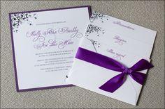 Purple and Cream Wedding Invitations