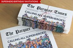 Superhero Birthday Invitations Make capes for the kids as favors