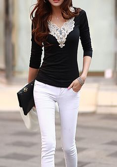 Black Patchwork Lace V-neck Long Sleeve Slim Casual Fashion T-Shirt - T-Shirts - Tops