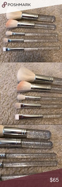 MAC Ice Parade Limited Edition Mini Brushes Gently used (though some have actually never been touched). Cleaned and sanitized. Beautiful clear handles with silver glitter. Limited edition from 2011 holiday collection. Does not come with original bag. A must for collectors! So pretty and high quality! IT MAKES PERFECT BRUSH KIT  167SE, 168SE, 239SE, 217SE, 212SE MAC Cosmetics Makeup Brushes & Tools