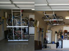 Introducing the Motorized Horizontal Double Bike Lift. Store two bikes with one touch of a button. System is designed to store bikes flat on your ceiling.