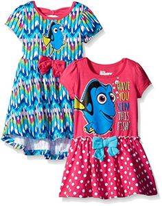 Disney Little Girls' Toddler Finding Dory Dresses Have You Seen This Fish, Blue, (Pack of 2 pack finding dory dress with a tacked on bow and a glittered screen-print. One dress is high low Disney Outfits Girls, Disney Girls, Girl Outfits, Cute Outfits, Disney Clothes, Baby & Toddler Clothing, Toddler Fashion, Toddler Girl, Girl Fashion