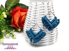 Diamant makramé fülbevaló – kék – DAMAKRAMÉ
