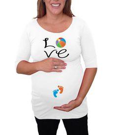 9e74b4584ccd6 Cute Love with beach ball Maternity Shirt by DJammarMaternity Pregnancy  Humor, Pregnancy Clothes, Pregnancy