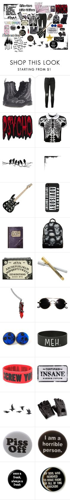 """There Are Some Things Wrong With Me"" by ghostgrl203 ❤ liked on Polyvore featuring Dr. Martens, AMIRI, Killstar, ferm LIVING, Mi-Pac, Hot Topic, Jayson Home, Humör and VesseL"