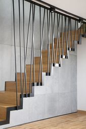 Modern Stairs You are in the right place about big Stairs Here we offer you the most beautiful pictures about the Stairs makeover you are looking for. When you examine the Modern Stairs part of the pi Staircase Design Modern, Staircase Railing Design, Modern Stair Railing, Home Stairs Design, Interior Stairs, Home Interior Design, Stairs Architecture, Modern Architecture, House Stairs