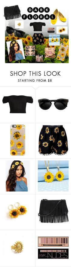 """""""Sunflower Eclipse"""" by brellad ❤ liked on Polyvore featuring River Island, Casetify, ASOS, White House Black Market, Zara Taylor, Flowers and Dark"""