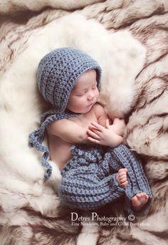 Baby Boy Crochet Newborn Pants Set with the Bonnet, Crochet Newborn Photo Prop Longies and Bonnet, Baby Boy Photo Prop. $40.00, via Etsy.