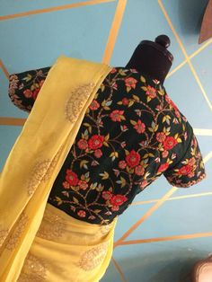 Beautiful sunshine yellow color saree and black color high neck blouse. Blouse with floral design hand embroidery thread work. Black Saree Blouse, Yellow Blouse, Saree Dress, Floral Blouse, Saree Blouse Designs, Blouse Patterns, Indian Bridal Party, Saree Models, Elegant Saree