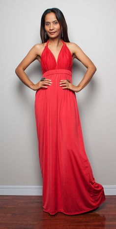 Red Dress / High Low Red Dress with Twisted Shoulder by Nuichan, $58.00