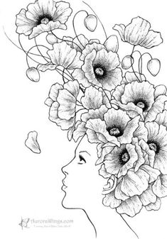 Black & White Print – Girl with Poppy Flowers – Poppies- Signed Fantasy Art … Black & White Print – Mädchen mit Mohn Blumen – Mohn – 5 x 7 signiert Fantasy Kunstdruck – von Mitzi Sato-Wiuff Fantasy Kunst, Fantasy Art, Poppies Tattoo, Coloring Book Pages, Poppy Coloring Page, Digi Stamps, Doodle Art, Line Art, Art Drawings