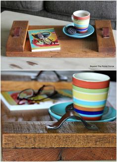 Looking for the perfect DIY project to transform your home this summer? One of the biggest trends in home décor right now is upcycling reclaimed wood. You can search for wood and reclaim it yourself Scrap Wood Projects, Reclaimed Wood Projects, Diy Home Decor Projects, Pallet Projects, Pallet Ideas, Decor Ideas, Vintage Bank, Transformers, Serving Tray Wood
