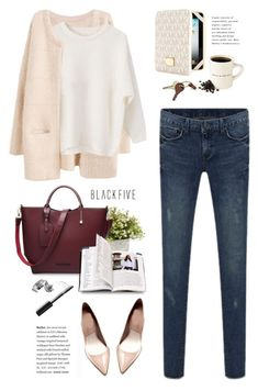 BF. Soft cardigan. by yexyka on Polyvore featuring MICHAEL Michael Kors, Crate and Barrel, Bobbi Brown Cosmetics, Nearly Natural, Sweater, bag, jeans, cardigan and BlackFive