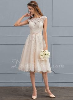 A-Line/Princess Scoop Neck Knee-Length Tulle Lace Wedding Dress With Bow(s) (002117037) - DressFirst