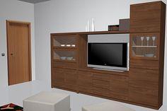 Proyecto de reforma con muebles  de  salón comedor un tanto rustico por el tipo de muebles que hay ya que también es un estilo de muebles el cual la gente pide bastante, esta composición es bastante amplia y muy completa.