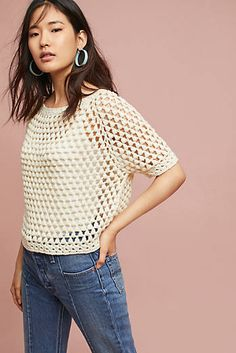 Very pretty, quite simple granny cluster raglan sleeve top -- Moth Crocheted Pullover via AnthropologieShop Moth knitwear at Anthropologie. Find your favorite pullover sweaters, cardigan sweaters, ponchos, tunics and more.Shop new women's clothing at Anth Débardeurs Au Crochet, Cardigan Au Crochet, Crochet Capas, Pull Crochet, Mode Crochet, Crochet T Shirts, Black Crochet Dress, Crochet Woman, Crochet Cardigan