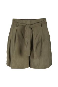 Looser fitting khaki shorts. Includes a tie front belt and front zipper closure. Perfect with a cream colored top and some gold jewelry.  Khaki Woven Short by Dex. Clothing - Shorts - High-Waisted New Jersey