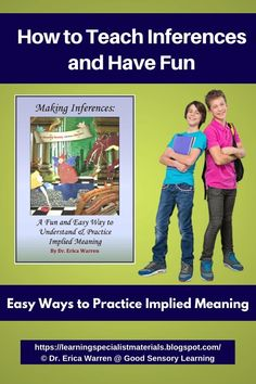 Inferences can be a tricky concept to master when students move from concrete to abstract ways of thinking. However, learning implied meaning does not have to be difficult. It fact, it can be fun and memorable! Thinking Skills, Critical Thinking, Executive Functioning, Teaching Language Arts, Inference, Help Teaching, Educational Games, Dyslexia, Adhd