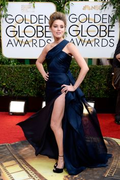 Golden Globes 2014 | January 12 2014 | Amber Heard wore an Atelier Versace gown with Jimmy Choo heels.