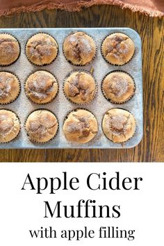 Reminiscent of apple-filled doughnuts, these Apple Cider Muffins with Apple Filling will be a year-round favorite. Not only does the apple filling take these muffins from delicious to decadent, but the sprinkling of cinnamon-sugar right out of the oven finishes them off perfectly. Muffin Recipes, Apple Recipes, Fall Recipes, Baking Recipes, Cookie Recipes, Best Dessert Recipes, Brunch Recipes, Delicious Desserts, Breakfast Recipes