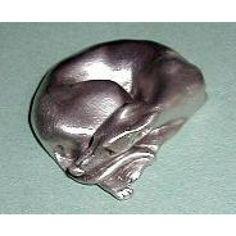 Lerner Pewter Curled Snoozing IG Greyhound Figurine