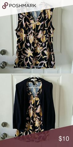 LOFT Blouse Navy, yellow, lilac, and white. LOFT Tops Blouses